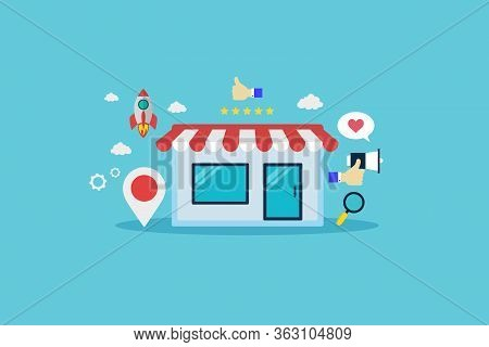 Online Business Ecommerce Shopping Market Place. Digital Marketing