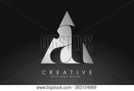 Aa A Black And Silver Letters Logo With A Geometric Design. Icon With Two Different Letters. Alphabe
