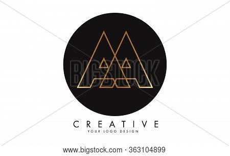 Golden Letters Aa A Logo With Monogram Design. Simple Aa Icon With Black Circle. Creative Stamp Vect