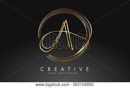 Gold Handwritten Aa A Letters Logo With A Minimalist Design. Aa Icon With Circular Golden Circles. C