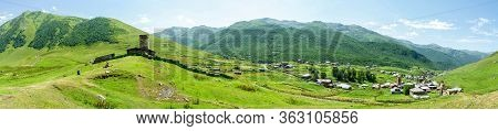 Panorama Of The Ushguli Village - Svaneti, Georgia, Europe