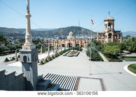 Tbilisi, Georgia - August 23 2019: City Landscape With Sameba - Holy Trinity Cathedral Of Tbilisi, G