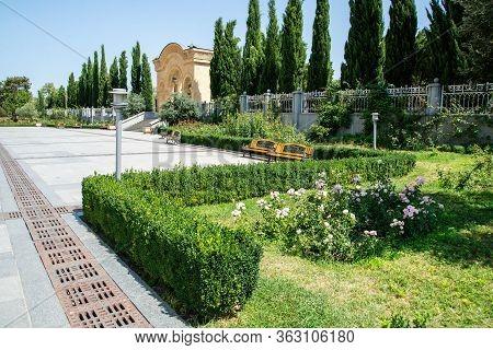 Park With An Arc Near Sameba - Holy Trinity Cathedral Of Tbilisi, Georgia