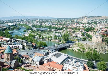 Cityscape Of Tbilisi, View On The Old Town, River Kura And The Bridge Of Peace, Georgia