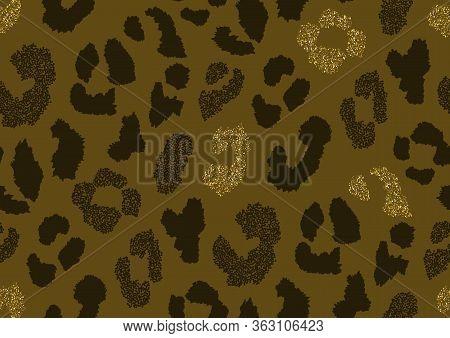 Abstract Animal Skin Leopard Seamless Pattern Design. Jaguar, Leopard, Cheetah, Panther Fur. Black,