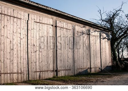 Weathered Doors Of A Barn In A Row Glimmering In Evening Sun