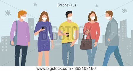 People Wearing Protective Medical Mask For Prevent Virus In The City. Vector Illustration.