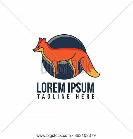 Illustration Design Unique Fox In Flat Design Symbol. Beautiful Fox. Fox Animal. Vector Fox. Stock I
