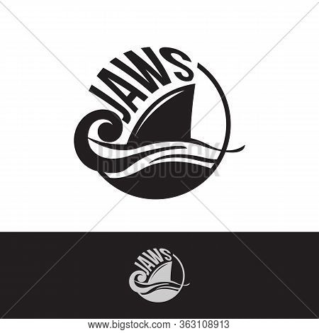Letter Jaws With Shark Fin On Surface Of Ocean. Letter Emblem Jaws On The White Background. Vector I