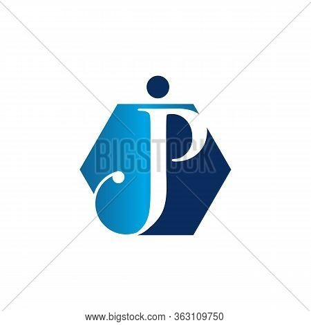 Unique Initial Jp Letter Linked Symbol On The White Background. Creative Letter Jp Modern Business S