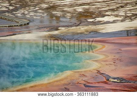 Close-up Aerial View Of Grand Prismatic Spring In Midway Geyser Basin, Yellowstone National Park, Wy