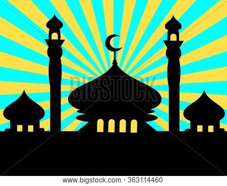 Mosque silhouette with blue and yellow light rays