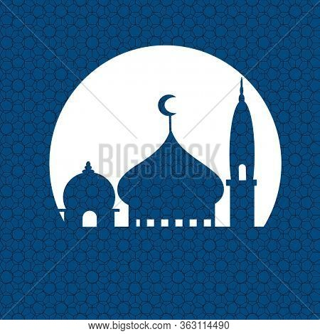 Blue mosque silhouette with geometric pattern