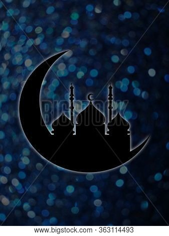 Mosque and crescent moon silhouette against dark blue glitter background