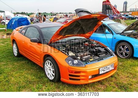 Moscow, Russia - July 6, 2012: Orange Sports Car Mitsubishi Eclipse Presented At The Annual Motorsho