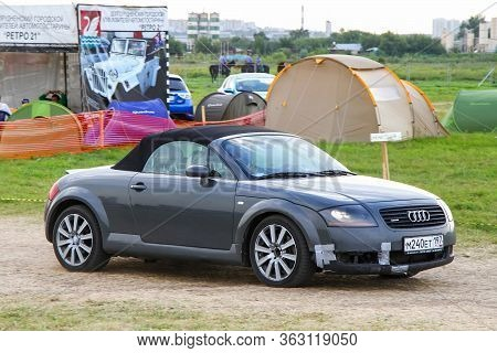 Moscow, Russia - July 6, 2012: Grey Convertible Car Audi Tt Presented At The Annual Motorshow Autoex