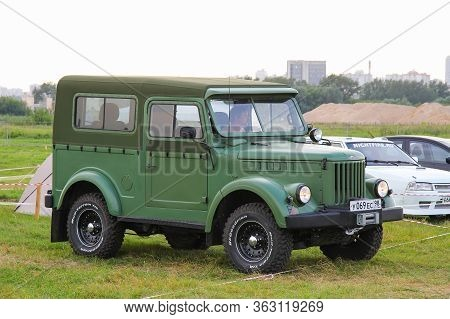 Moscow, Russia - July 6, 2012: Soviet Offroad Car Gaz 69 Stylized Custom Car Presented At The Annual