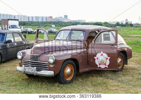 Moscow, Russia - July 6, 2012: Luxury Soviet Sedan Gaz 20 Pobeda Presented At The Annual Motorshow A