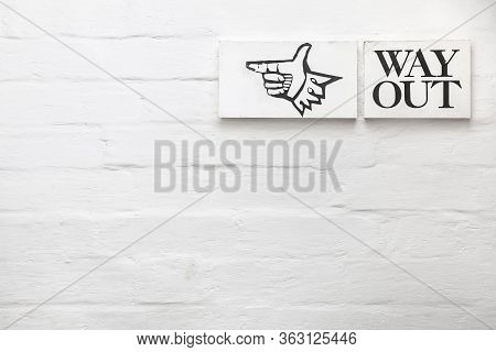 Way Out Sign Or Exit Sign With Copyspace. Suitable For A Template Or Background
