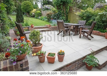 Hard Landscaping, New Luxury Stone Patio And Garden Of An English Home, Uk