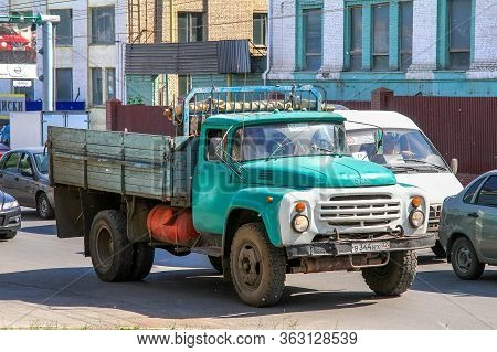 Ufa, Russia - May 25, 2012: Green Flatbed Truck Zil 130 In The City Street.