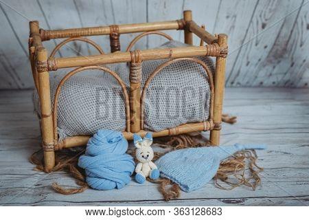 setup ready for newborn photo shoot, newborn and baby photography