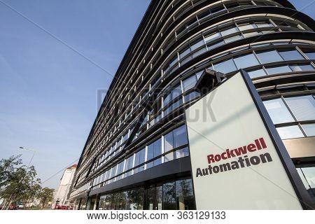 Prague, Czechia - October 31, 2019: Rockwell Automation Logo On Their Headquarters For Prague, Rockw