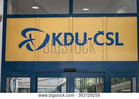 Prague, Czechia - October 31, 2019: Kdu Csl Union Logo On Their Headquarters In Prague. Kdu Csl Is T
