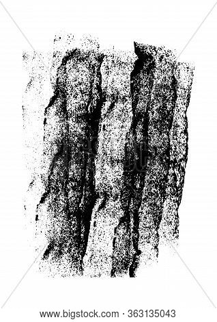 Grunge Hand Painted Rough Stain Texture Background. Black Blot Isolated