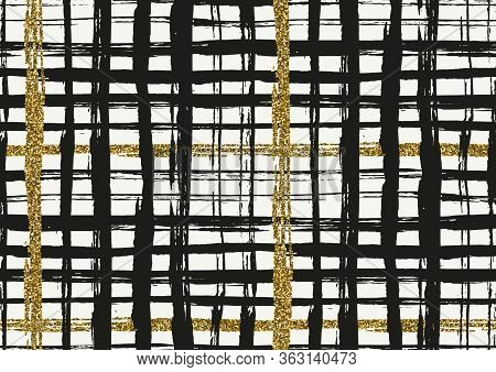 Vector Seamless Pattern With Hand Drawn Gold Glitter Textured Rough Brush Strokes And Stripes Hand P