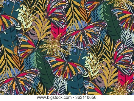 Seamless Pattern With Trendy Tropical Summer Motifs, Colorful Butterflies, Exotic Leaves And Plants.