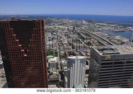 Toronto, Ontario / Canada - Jun16, 2009: Aerial View Over The City Waterfront Of Toronto, Ontario, C