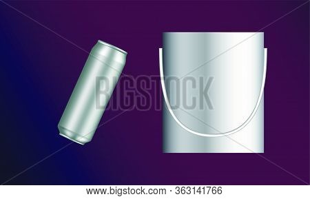 Mock Up Illustration Of Beer Can And Whisky Ice Bucket On Abstract Background