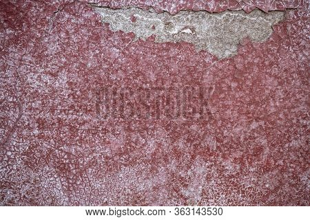 Background Image Of Painted Concrete Wall. Cracked Paint. Wallpaper. Text Space. Texture For Interio