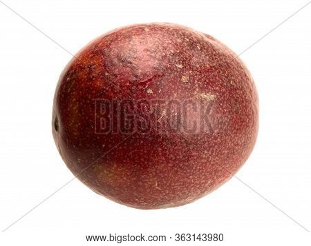 Tropical Passion Fruit Liana Fruit Object Isolated. Shape Of The Fruit Is Round Or Oval. Fruit Of A