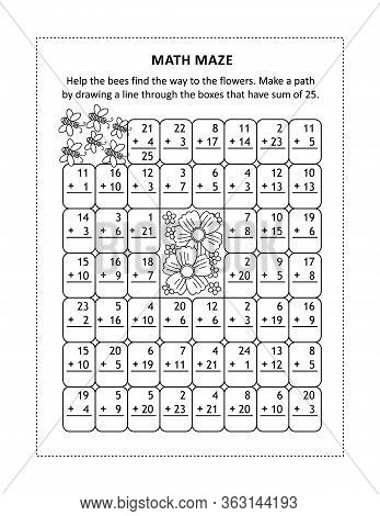 Math Maze For Young Students To Learn Or Reinforce Addition Facts Up To 25: Help The Bees Find The W