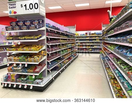 Alameda, Ca - Feb 28, 2020: Easter Candy Display On Shelves In Isle Of Store. Candy Sales Spike Duri