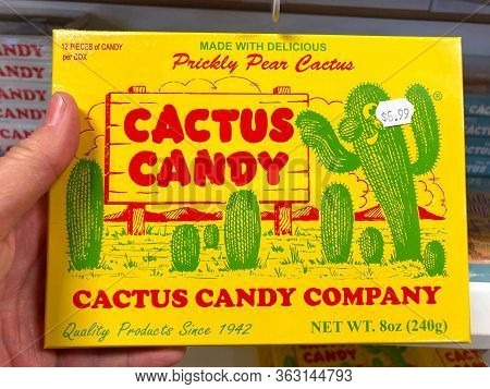 Chandler, Az - March 10, 2020: Hand Holding Box Of Cactus Candy. Southwest Candy Sampler By The Cact