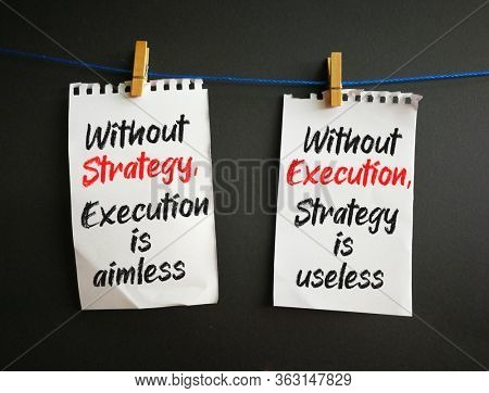 Notes on strategy and execution, hanging on string