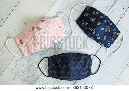 Handmade Japanese Patterned And Cat Patterned Fabric Face Masks For Virus Contagion Protection