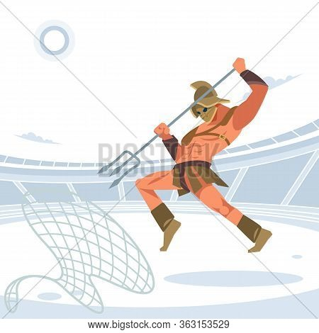 Warrior Retiarius Gladiator In The Arena With A Grid And A Trident Jumps On The Caught Enemy. Vector
