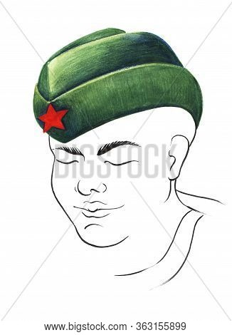 Watercolor Sketch Of Young Soldier In Green Garrison Cap With Red Star In The Middle. Boy With Tense