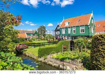 Marken Island, Beautiful Traditional Fisherman Village Houses, Typical Dutch Landscape, North Hollan