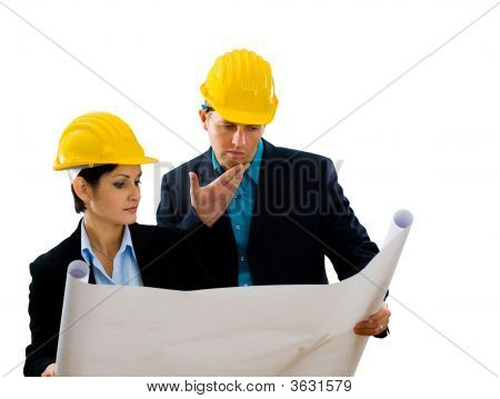 Architects Reading Blueprint