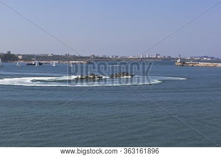 Sevastopol, Crimea, Russia - July 28, 2019: The Turns Of The Raptor Landing Boats At The Celebration