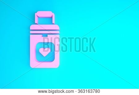 Pink Cooler Box For Human Organs Transportation Icon Isolated On Blue Background. Organ Transplantat
