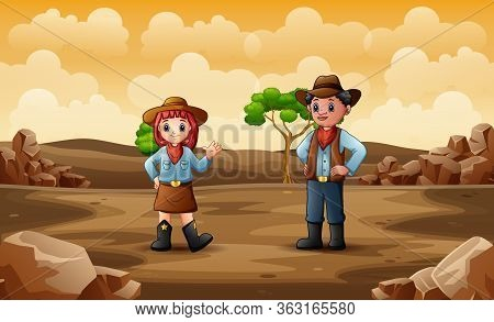 Illustration Of Cowboy And Cowgirl In The Desert