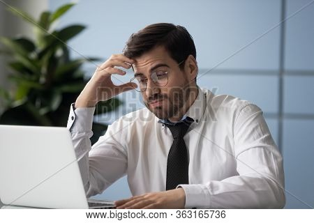 Stressful Businessman Getting Bad News Looking At Screen Laptop.