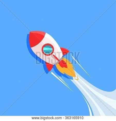 Rocket Ship Launching, Flat Rocketship Startup Background Illustration On Blue Background