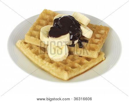 Waffles with Banana and Chocolate Sauce